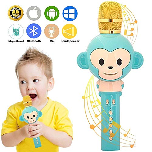 Gaobige Microphone for Kids Karaoke Microphone Bluetooth Wireless Microphone Portable Handheld Karaoke Machine Toys Gifts Singing Recording Home KTV Party iPhone Android PC Smartphone (Green)