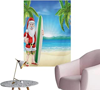 Anzhutwelve Christmas Photo Wall Paper Santa Claus with Trunks on The Beach and Surfboard Sunny Hot Christmas ThemeBlue Green W32 xL36 The Office Poster