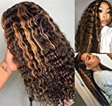 Long Curly Ombre Wigs Synthetic Lace Front Brown/Blonde Highlights Color 30#/27# Natural Hairline 180% Density Balayage Hair Blonde Wig 22Inch