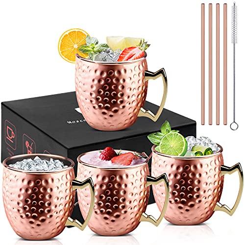 VPOW 4 Stück Moscow Mule Becher[500ml], Kupfertassen Moscow Mule Kupferbecher 4er Set, Cocktail Tasse mit 4 Strohhalmen und 1 Pinsel, perfekt für Bier, Kaltgetränk