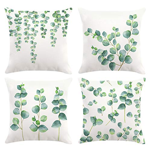 Bonhause Eucalyptus Leaves Cushion Covers 18 x 18 Inch Set of 4 Green Plants Decorative Throw Pillow Covers Super Soft Velvet Square Pillowcases for Sofa Couch Car Bedroom Home Décor, 45cm x 45cm