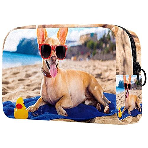Bolsa de cosméticos para Mujer, Bolsas de Maquillaje, Neceser de Viaje, Organizador de Accesorios, Perro Chihuahua en la Orilla, Tomar el Sol