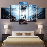wodclockyui 5 Piezas Cuadro de Lienzo - Star Wars Pintura 5 Impresiones de imágenes Decoración de Pared para el hogar Pinturas y Carteles de Arte HD 200cmx100cm Sin Marco