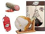 Jamón crudo entero con hueso, en caja regalo con tornillo de banco y cuchillo + Mortadela Pallina di Suprema 760g + Salame Milano, c.a. 1 kilogramo