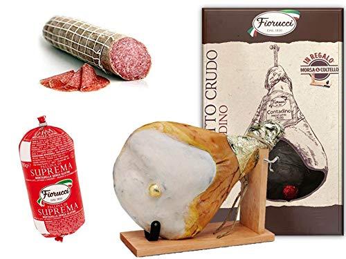 Prosciutto Crudo intero con osso, in confezione regalo con morsa e coltello + Mortadella Pallina di...