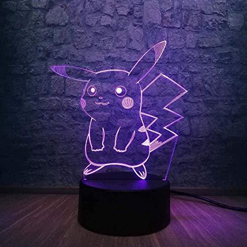 Pokemon Pikachu 3D linterna mágica luz de noche led cambio de 7 colores control remoto decoración del hogar cumpleaños de los niños regalo creativo