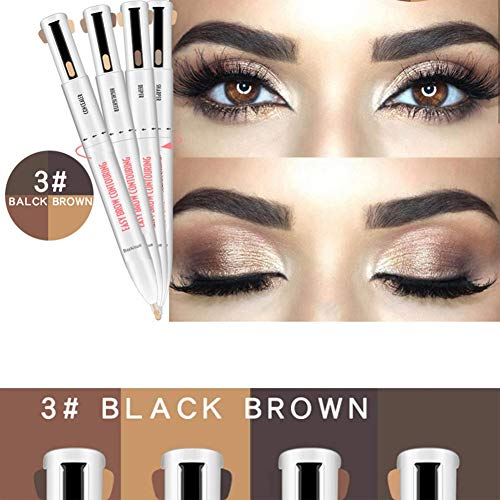SLKQQQIQ 4 in 1 Eyebrow Contour Pen, 4 Colors in 1 Waterproof Eyebrow Pen Rotate to Change Color Defining and Highlighting Brow Pencil (3#Black Brown)