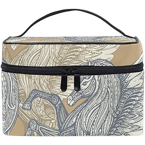 Sac à cosmétiques, Pegasus Pattern Travel Makeup Organizer Bag Cosmetic Case Portable Train Case for Women Girls
