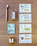 Cosmétiques Bio Zéro Déchet - 4 produits : brosse à dents et cure-oreilles en bambou, dentifrice solide et shampoing solide