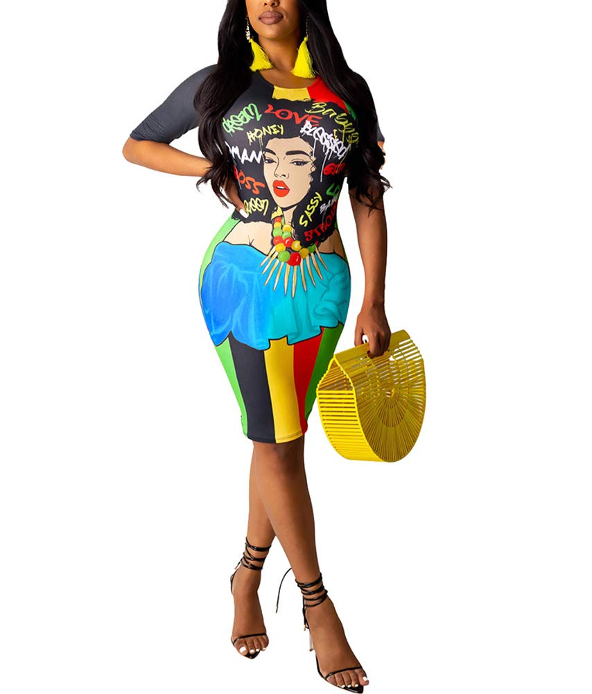 Available at Amazon: IyMoo African Print Dresses for Women - Sexy Club Outfits Summer Short Sleeve Graffiti Print T-Shirt Bodycon Club Party Dress