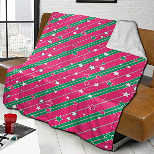 Christmas Red Green Line Stars Bed Blanket Full Size for Couch Sofa and Bed Lightweight Cozy Warm Soft Throw Blanket for Women Men 60x50 inch