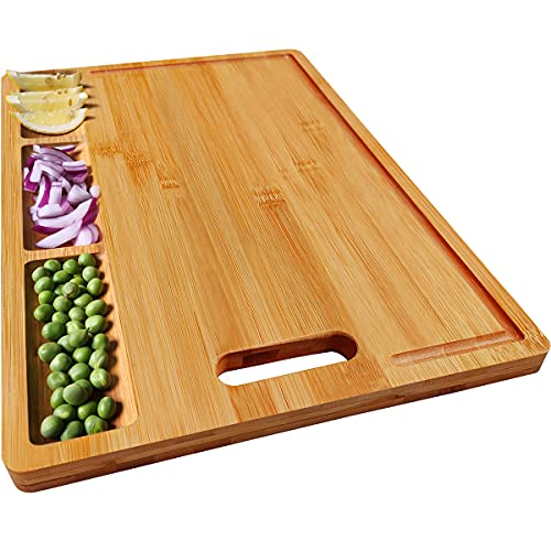 HHXRISE Organic Bamboo Cutting Board For Kitchen, With 3 Built-In Compartments And Juice Grooves, Heavy Duty Chopping Board For Meats Bread Fruits, Butcher Block, Carving Board, BPA Free…