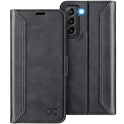OCASE Retro Hülle Samsung Galaxy S21 Handyhülle Tasche PU Leder Flip Cover Brieftasche Etui RFID Schutzhülle Lederhülle Klapphülle Kompatibel für Galaxy S21 Schwarz 6,2 Zoll