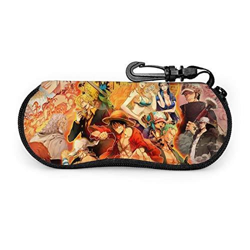 Anime One Piece Ultra-Light Portátil Neopreno Con Cremallera Hard Shell Gafas Caso Con Mosquetón Gafas De Sol Caso Para Hombres Mujer