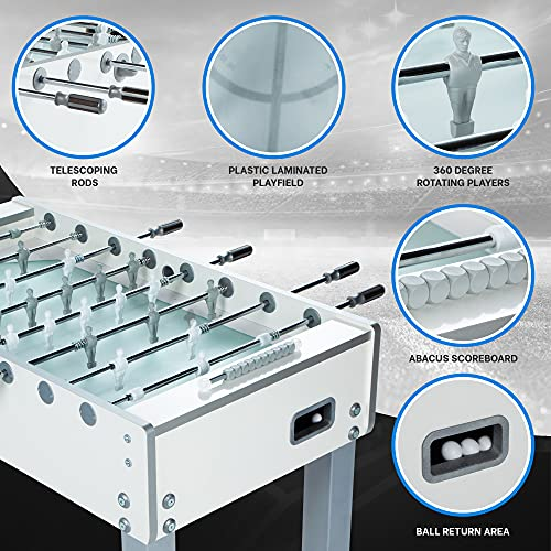 Product Image 1: Garlando G-500 Pure White Foosball / Soccer Table – Premium Game Room and Arcade Equipment for Indoor Recreation – Includes 10 Standard Balls, Medium