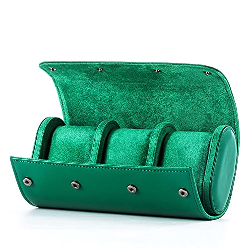 Uhrenbox Travel Portable Watch Roll Organizer Watch Organizer Collection PU Leder Uhrenvitrine für Herren Weihnachtsgeschenk Grün 3 Slot
