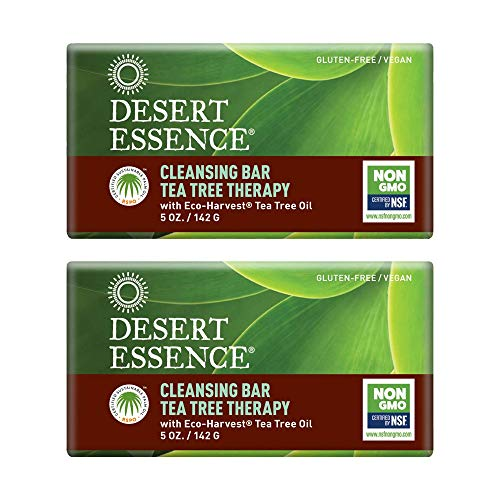 Desert Essence Tea Tree Therapy Cleansing Bar Soap - 5 Ounce - Pack of 2 - Therapeutic Skincare - All Skin Types - Jojoba Oil - Aloe Vera - Palm Oil - Moisturizes Face and Body