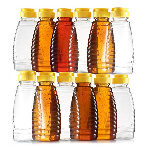 Empty Plastic Honey Bottles – Clear Plastic Honey Jars - PET Food Grade Plastic Honey Container Refill – Squeeze Honey Bottle With Leak Proof Flip-Top Caps For Easy Dispensing - BPA Free Food Safe