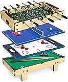 MU Juego de Competiciones de Arcade 4 en 1, Juguetes Educativos para Niños en Interiores, con Billar de Piscina, Horca de Foosball Air Hockey Y Mesas de Billar de Tenis,Defecto
