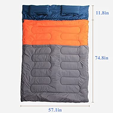 BESTEAM Huge Double Sleeping Bag, Flannel, Queen Size XL 86.6 x59  with 2 Pillows and Compression Bag, Waterproof, lightweight, Great for Backpacking, Camping, Hiking