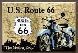 (2x3) Route 66 The Mother Road Motorcycle Retro Vintage Locker Refrigerator Magnet by Poster Revolution