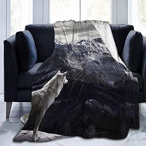 Wolf Throw Fleece Blanket Flannel Ultra Soft Lightweight Microfiber Luxury Air Conditioner...