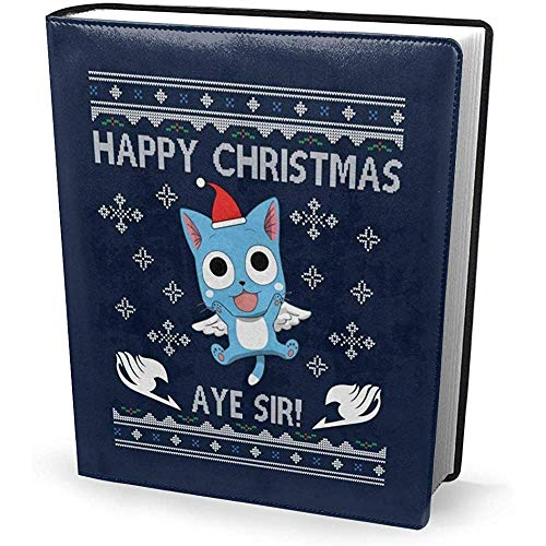 Funda de libro 9x11 pulgadas Happy Fairy Tail Aye Sir Christmas Knit-Stretchable Lavable Reutilizable