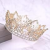 Penxina Vintage Crystal Rhinestone Bridal Wedding Crown Princess Queen Royal Tiara for Women Prom (Gold)