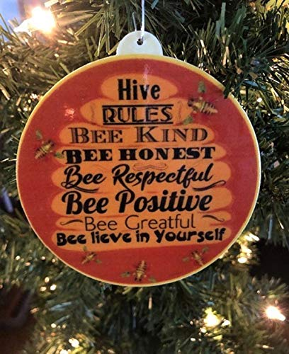 Bee Hive Ornament, Be Kind Ornament, Bee Christmas Ornament, Bee Hive Rule Ornament, Be Kind Ornament, Bee Ornament, Bee Hive Rules