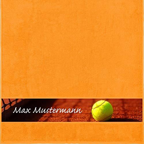 Manutextur Duschtuch mit Namen - personalisiert - Motiv Sport - Tennis - viele Farben & Motive - Dusch-Handtuch - orange - Größe 70x140 cm - persönliches Geschenk mit Wunsch-Motiv und Wunsch-Name