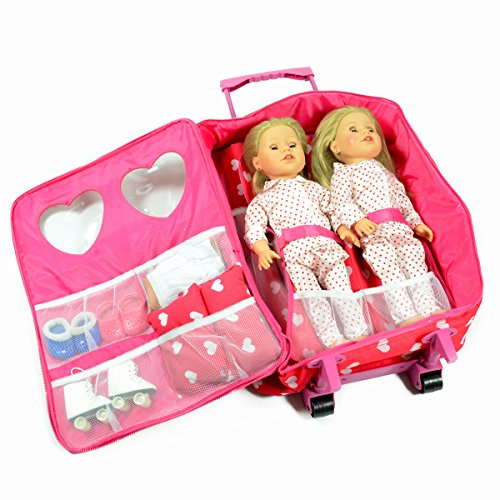 Doll Double Travel Trolley with Double Sleeping Bag - Doll Travel case Fits 18 inch Dolls (Pink Hearts)