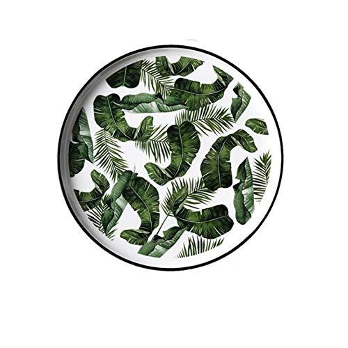 JSJJARD Plato de Cena 8 y 10 Pulgadas de cerámica Plato Verde de la Hoja del vajilla de vajilla Plana Placa de Postre Snack-Dish (Color : B)