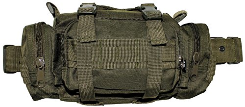 Hüfttasche wahlweise auch als Schultertragetasche mit diversen Taschen, Farbe: Oliv oliv/OD green
