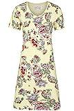 Ringella Bloomy Damen *Nachthemd Geringelt mit Blumen French Vanilla 36 0251008, French Vanilla, 36