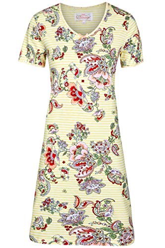 Ringella Bloomy Damen Nachthemd Geringelt mit Blumen French Vanilla 36 0251008, French Vanilla, 36