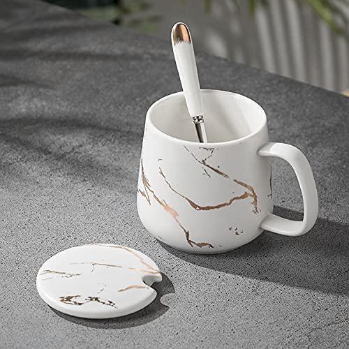 Xiaobing Taza de Desayuno de patrón de mármol Simple de Moda con Tapa Taza práctica de Regalo de Oficina -C308-301-400ml