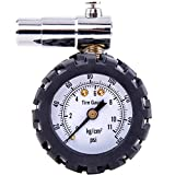 Hi-Spec 160PSI Tire Pressure Dial Gauge for Presta Valves on Road Racing Bikes & High End Mountain Bikes. Large Dial with Quick-Release Air Button. Pocketable with a Rugged Protective Ring