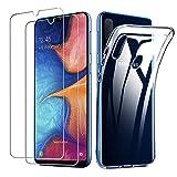Lifeacc Cover Compatibile con Samsung Galaxy A20e (2019) & Pellicola Protettiva in Vetro Temperato [2 Packs], Morbido Trasparente Silicone Cover Samsung A20e