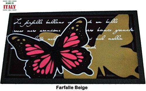 CASA TESSILE Floqué Porte Mat 40 x 70 cm. FARFALLE FLOMAT - Beige