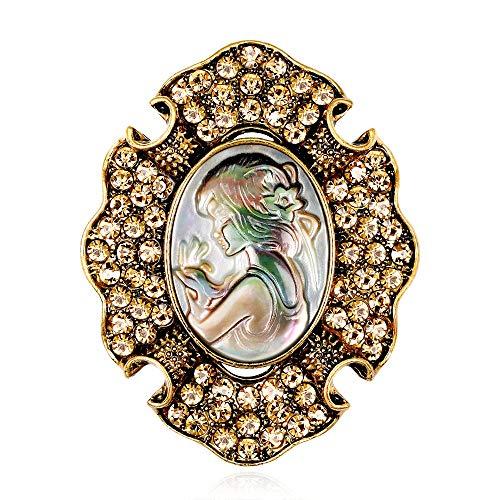 Broches elegantes pernos de las mujeres broche de cristal de las mujeres Rhinestone de la vendimia del camafeo de la broche de soltera de la bufanda del Pin boda Prom ( Color : A , Size : Free size )