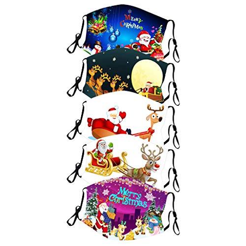 UINGKID Mundschutz Waschbar mit Weihnachten Motiv Bandana Lustige Multifunktionstuch Herren Damen Mund und Nasenschutz Staubdicht Motorrad Halstuch 5PC