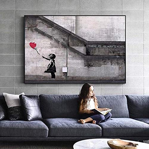 WTYBGDAN Banksy Canvas Art Print Wall Art Canvas Painting Carteles nórdicos e Impresiones Imágenes de Pared para Sala de Estar Decoración Abstracta | 60x80cm / Sin Marco