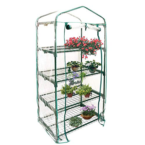 4 Tier Garden Greenhouse Cover, Mini Plant Greenhouse Cover Reinforced PVC Plastic Cover for Grow...