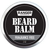 Fragrance Free Beard Balm, 100% Pure Natural Organic Leave in Conditioner with Natural Oils for Groomed Beards and Mustaches 2 oz by Ranger Grooming Co by Leven Rose (Frangrance Free Balm)