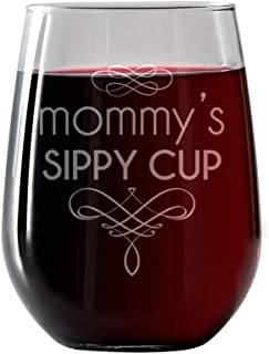 Mommy's Sippy Cup - 17oz. Funny Stemless Wine Glass - Gift for Mom, Gift ideas for Her, Birthday, Christmas Gift for Mom - Baby Shower, any women in your life. Includes Pairing Card for Wine and Food
