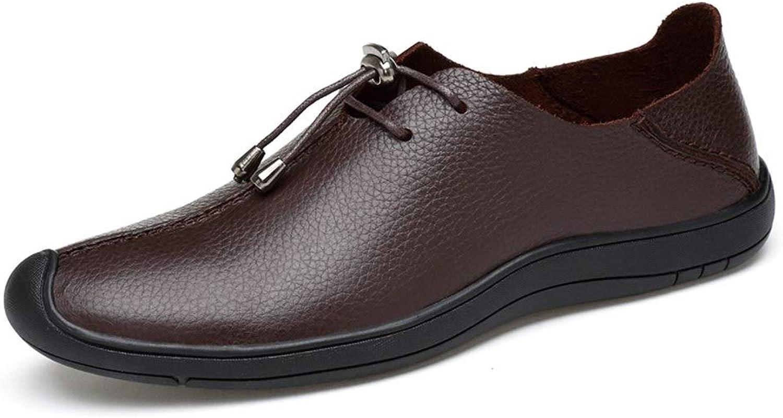 EGS-schuhe Oxford Schuhe für Mnner schnüren Sich Oben Formale Schuhe weiches OX-Leder einfache Persnlichkeit Nhte leicht,Grille Schuhe (Farbe   Dunkelbraun, Gre   43 EU)