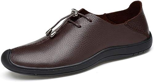 EGS-chaussures Chaussures Richelieu pour Hommes Chaussures Formelles à Lacets en Cuir Souple Ox Cuir Simple personnalité Couture légère Chaussures de Cricket (Couleur   Marron foncé, Taille   43 EU)