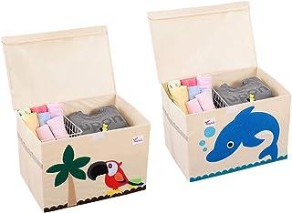 SITAKE Conjunto de 2 Caja de Almacenamiento para Niños - Caja de Juguetes y Almacenamiento - Caja y Armario Organizador para niños (52 x 36 x 35,5 cm, Loro y Delfín)
