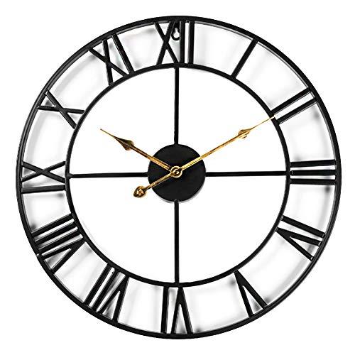 Reloj de pared con esqueleto silencioso, números romanos Taodyans 40 cm Metal Vintage Reloj grande para sala de estar, cocina, cafetería, hotel, oficina, dormitorio, decoración del hogar (Negro-Oro)