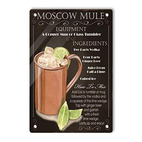 Oddss Retro Beer Moscow Mule Black Blechschilds, Lightweight Aluminum Wall Decor Vintage Advertising Sign for Men Cave Coffee Bar Home Garage Movie Shop Garden 20x30cm